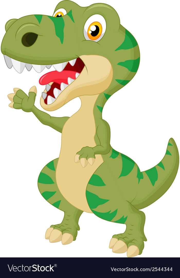 Cute tyrannosaurus cartoon waving hand vector | Price: 1 Credit (USD $1)