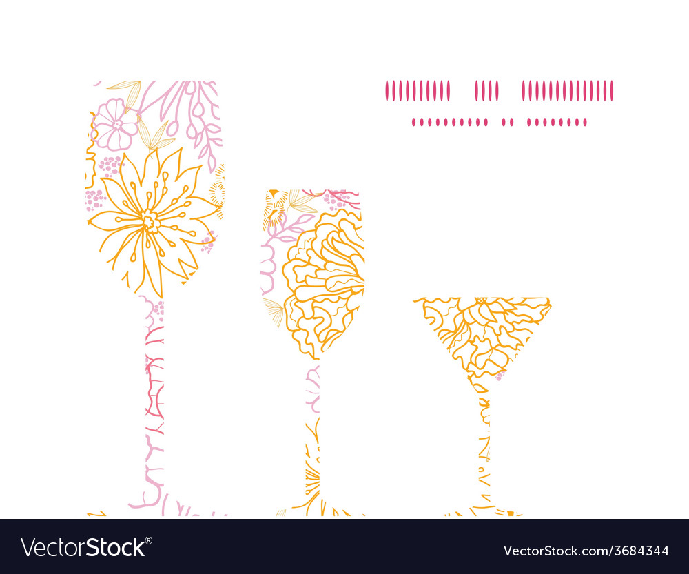 Flowers outlined three wine glasses silhouettes vector | Price: 1 Credit (USD $1)