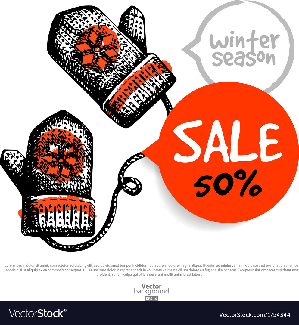 Hand drawn sale christmas background vector | Price: 1 Credit (USD $1)