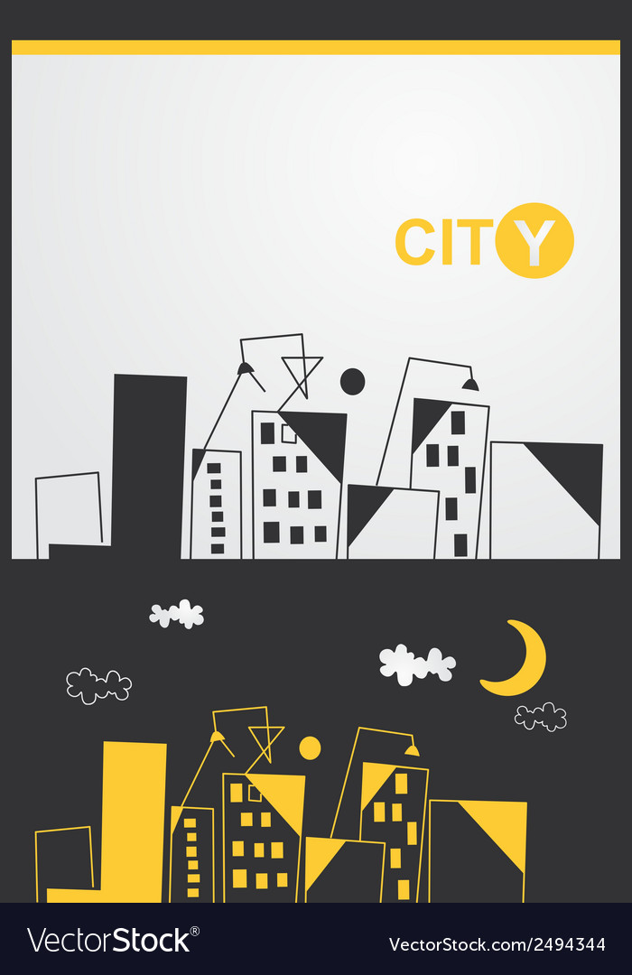 Painted cityscape vector | Price: 1 Credit (USD $1)