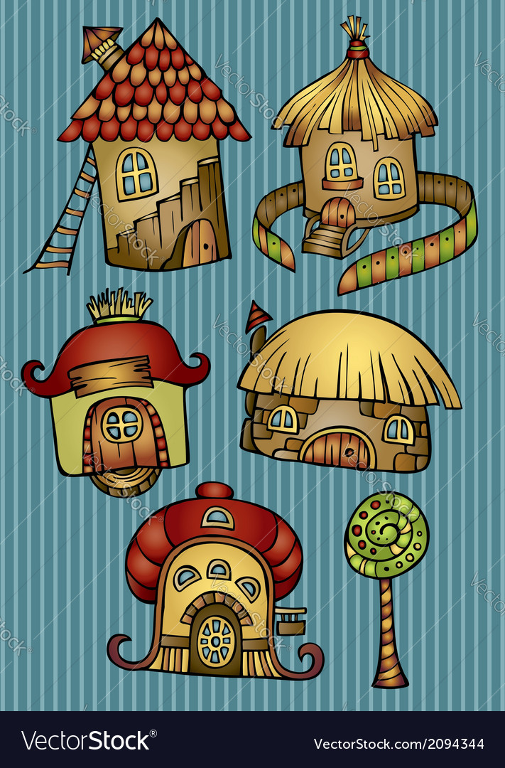 Set of color cartoon houses vector | Price: 1 Credit (USD $1)