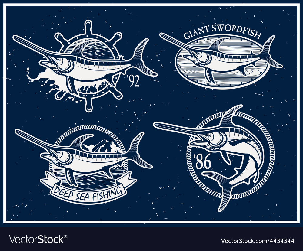Vintage swordfish sea fishing emblems vector | Price: 1 Credit (USD $1)