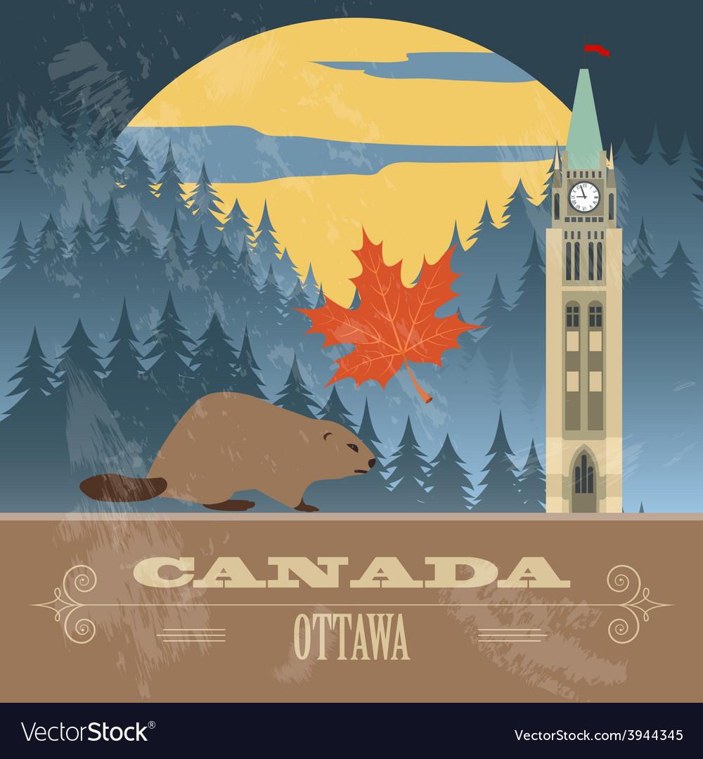 Canada landmarks retro styled image vector | Price: 1 Credit (USD $1)