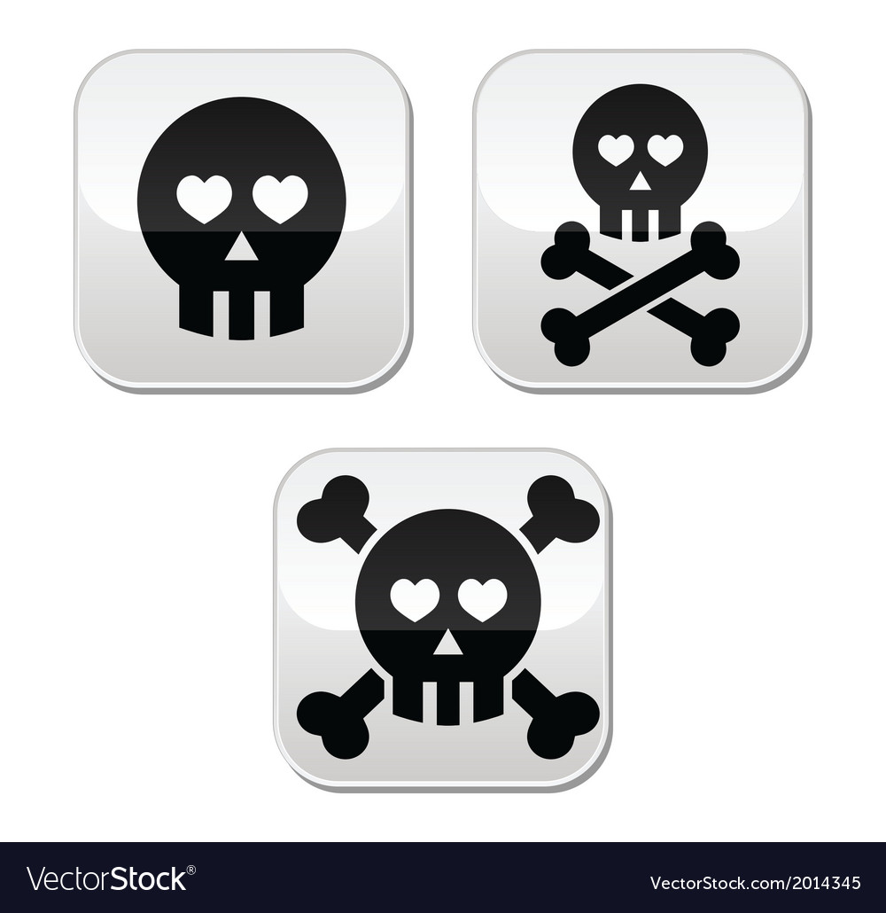 Cartoon skull with bones and hearts buttons vector | Price: 1 Credit (USD $1)