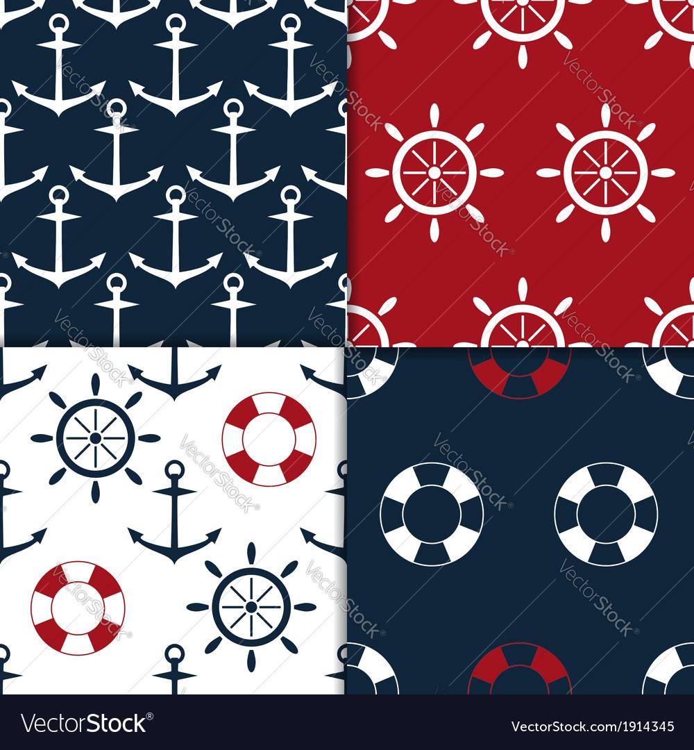 Nautical seamless set vector | Price: 1 Credit (USD $1)