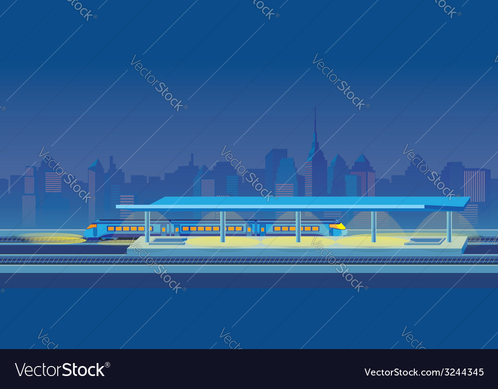 Night train station vector | Price: 1 Credit (USD $1)
