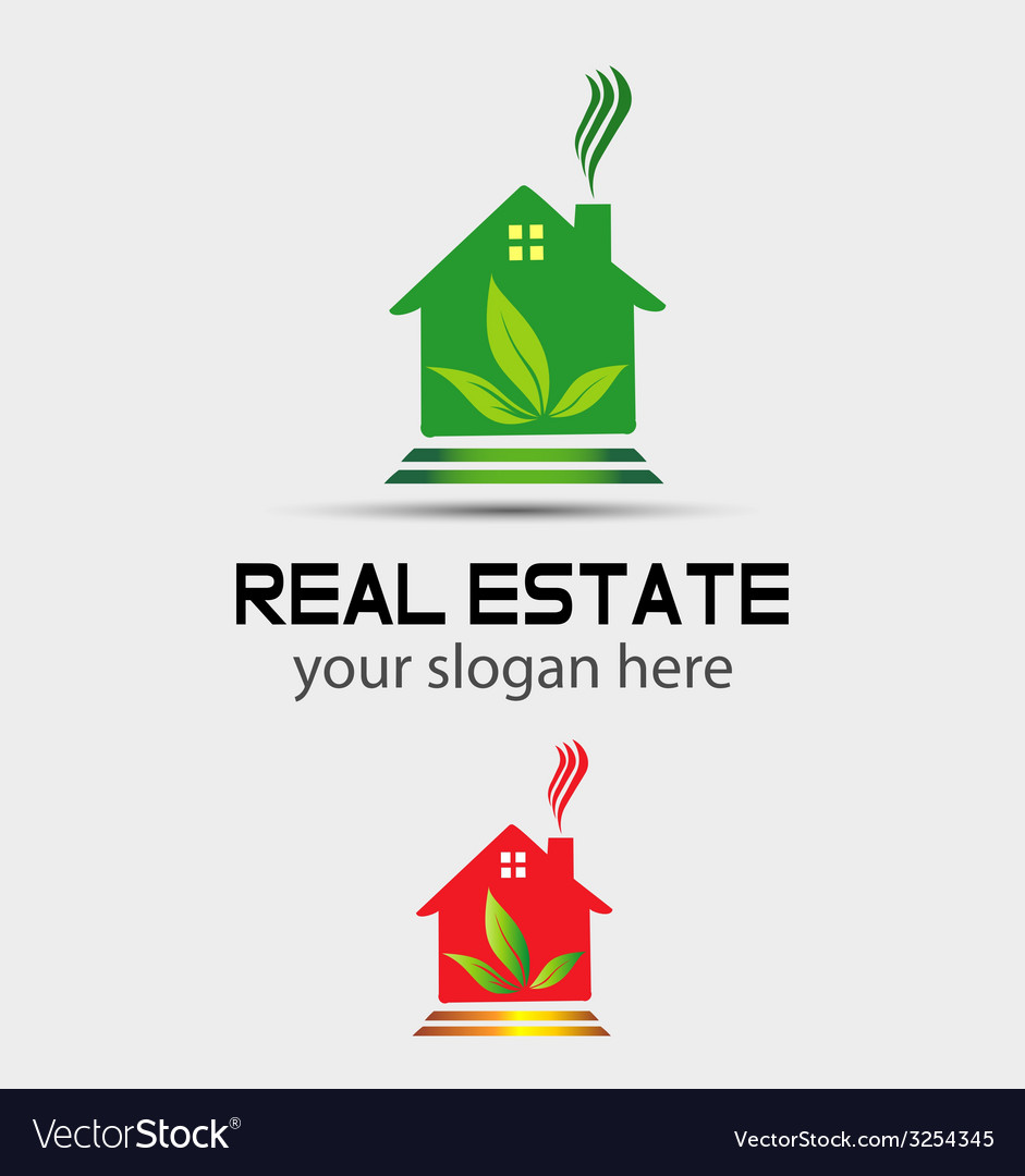 Real estate house with tree logo vector | Price: 1 Credit (USD $1)