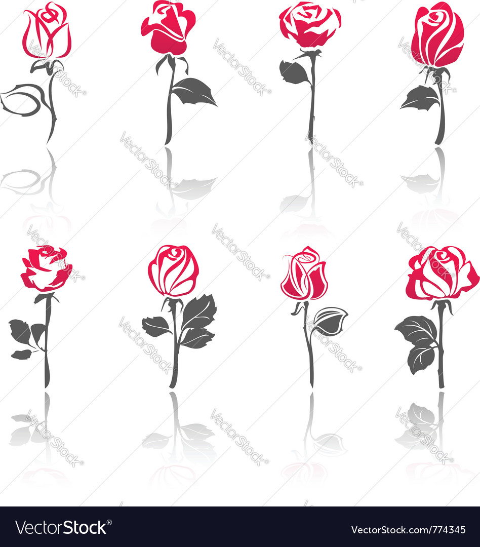 Rose icon set vector | Price: 1 Credit (USD $1)