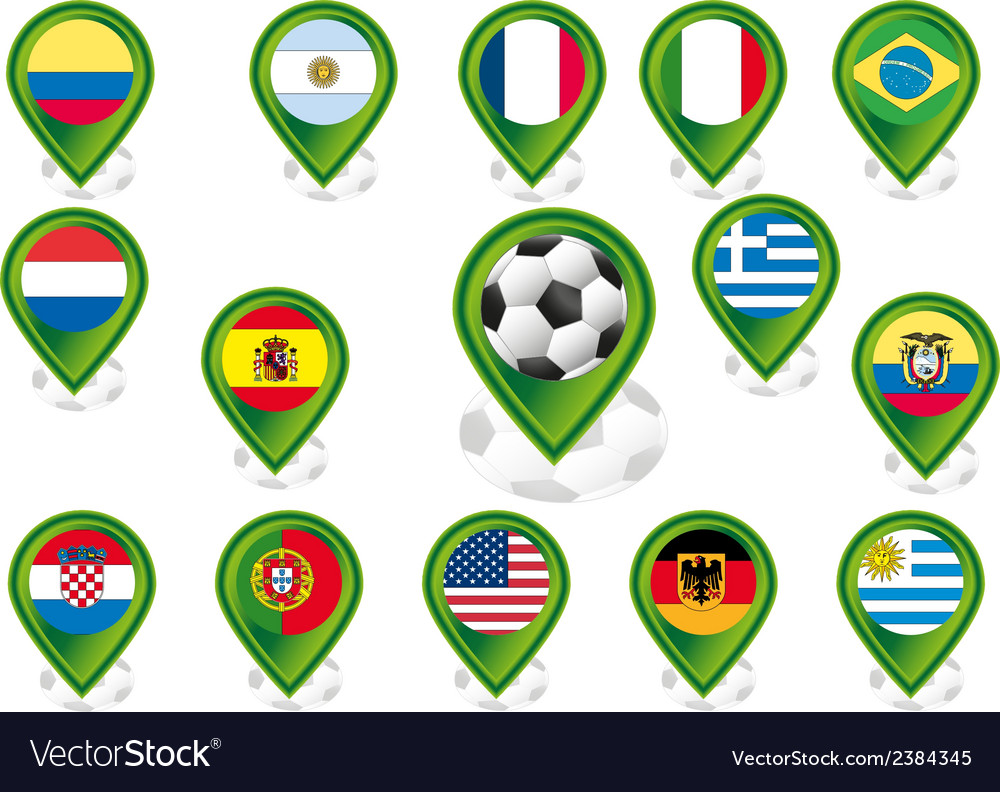Seto of flag pointers with soccer football motif vector | Price: 1 Credit (USD $1)