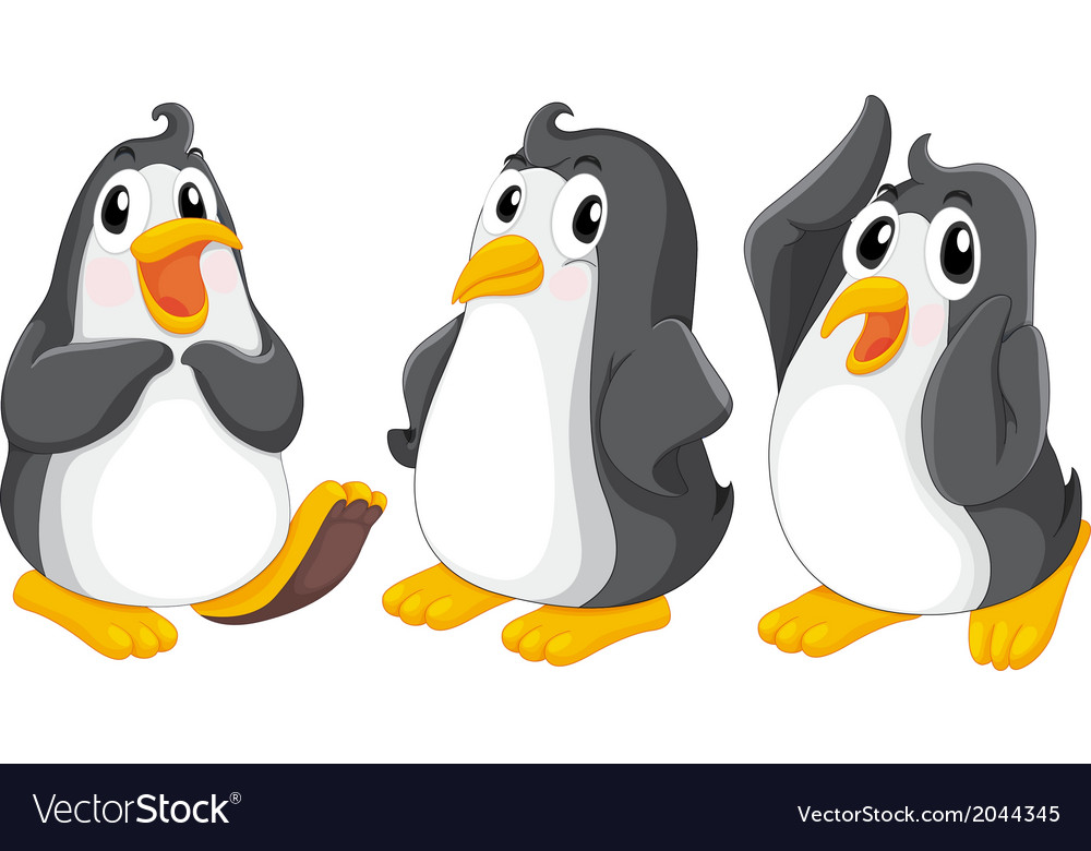 Three cute penguins vector | Price: 1 Credit (USD $1)