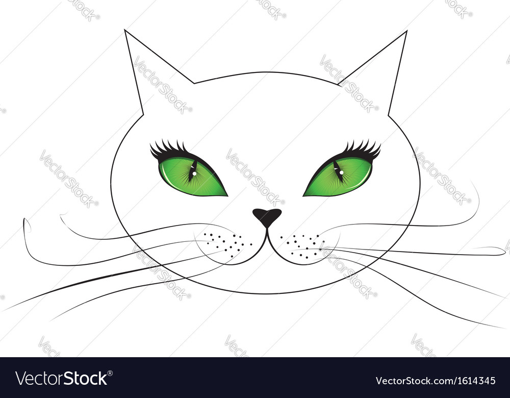 White cat face with green eyes vector | Price: 1 Credit (USD $1)