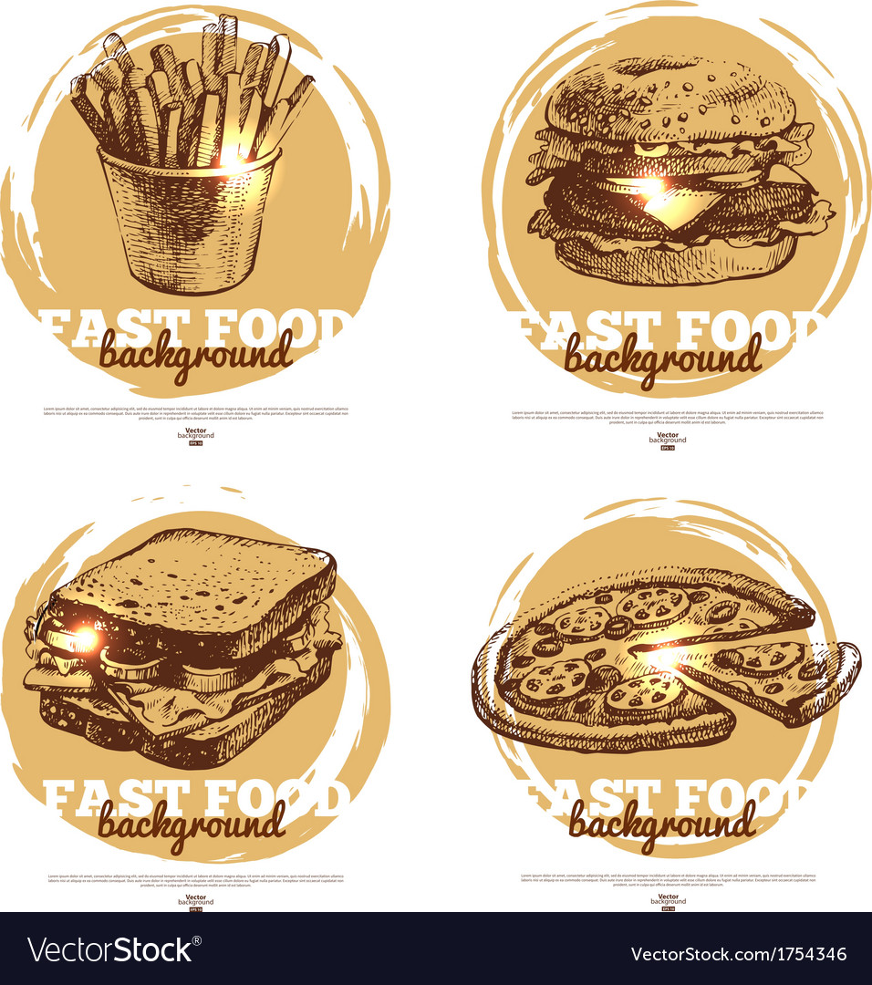 Banners of fast food sketch design vector | Price: 1 Credit (USD $1)