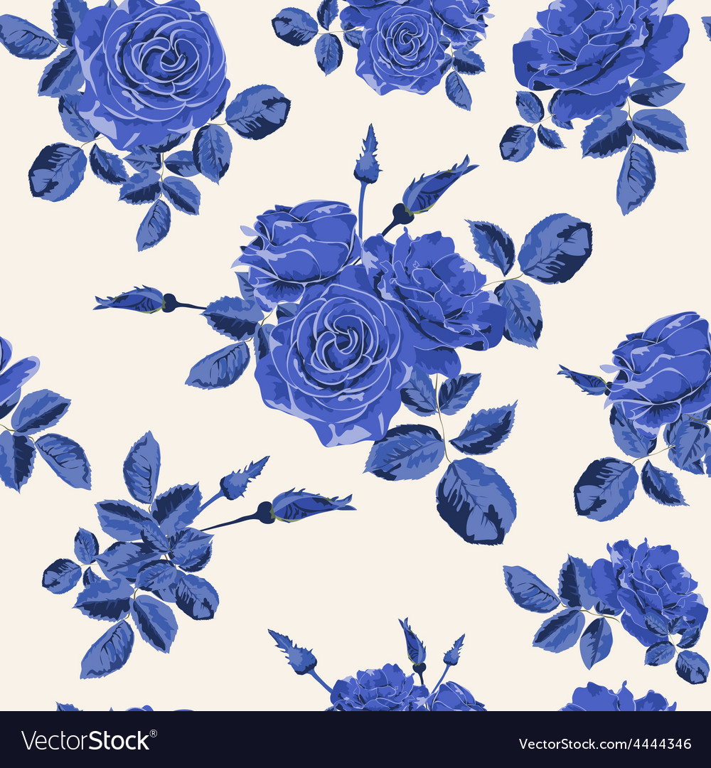 Beautiful seamless blue roses pattern vector | Price: 1 Credit (USD $1)