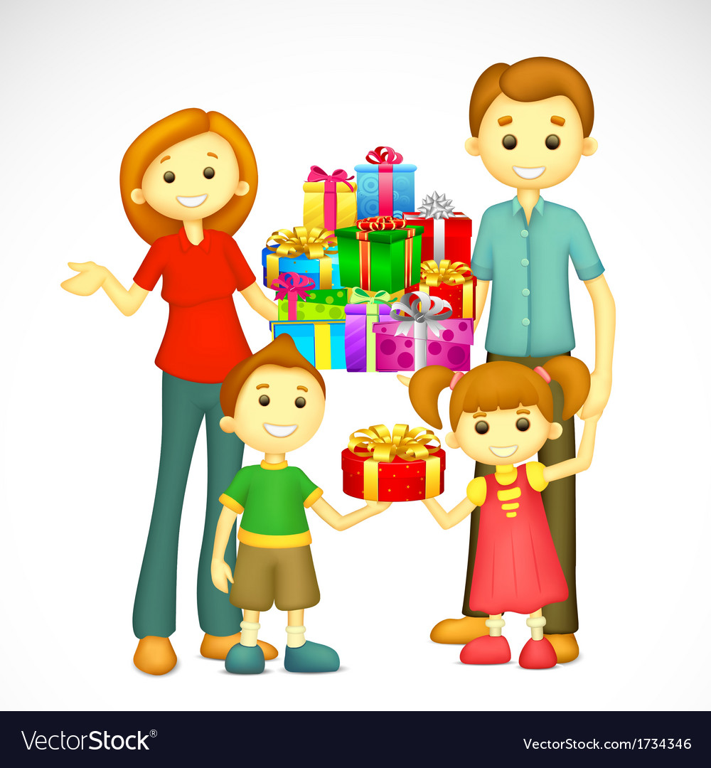 Family with holiday gift vector | Price: 1 Credit (USD $1)