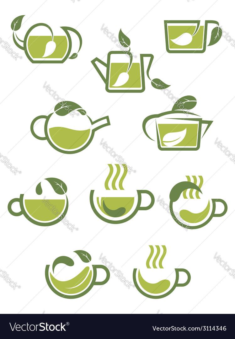 Green herbal tea icons vector   Price: 1 Credit (USD $1)
