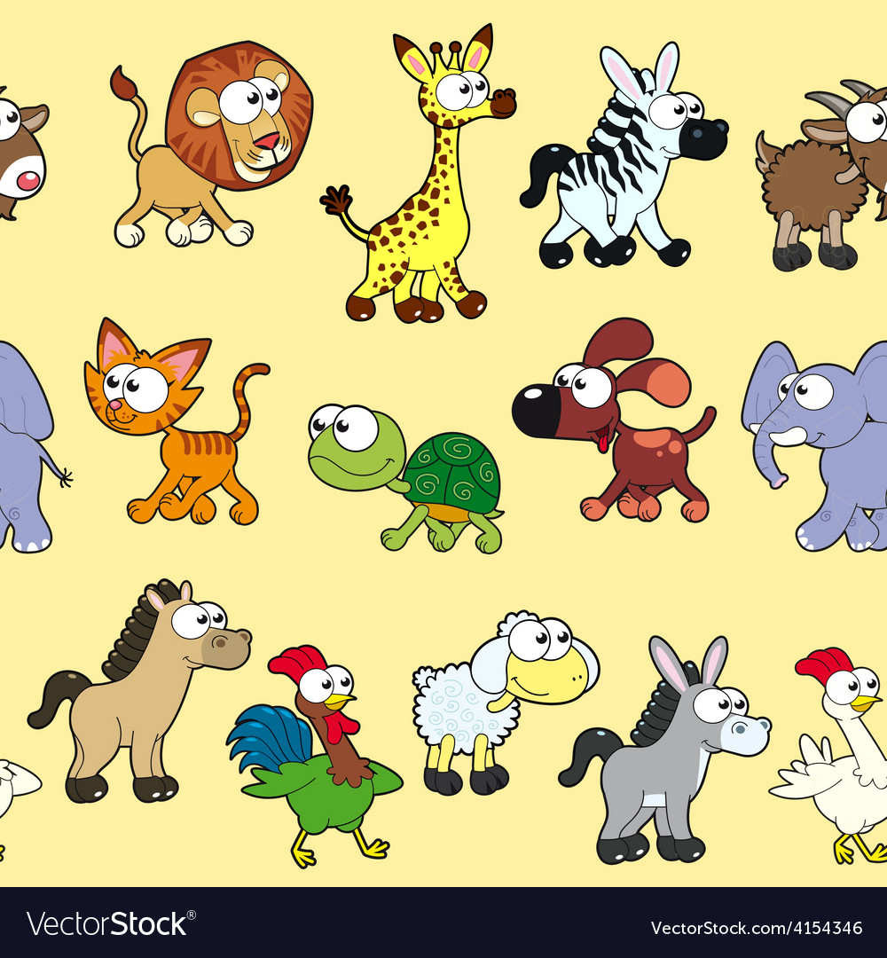Group of animals with background vector | Price: 1 Credit (USD $1)