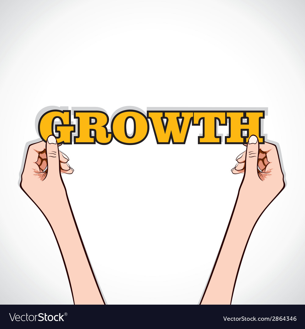 Growth word sticker in hand vector | Price: 1 Credit (USD $1)
