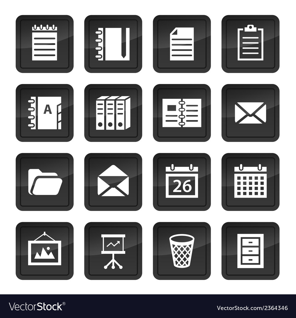Office and document icons with black buttons with vector | Price: 1 Credit (USD $1)