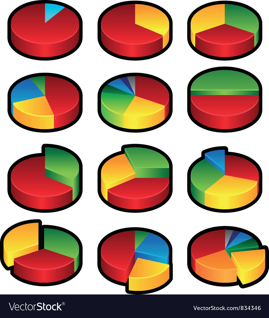 Pie graphs vector | Price: 1 Credit (USD $1)
