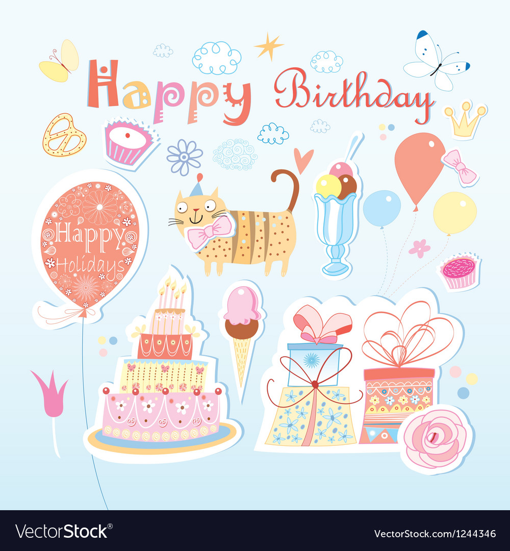 Set of birthday party elements vector | Price: 1 Credit (USD $1)
