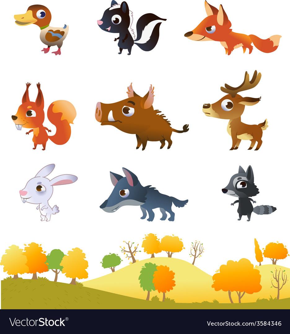 Set of cartoon forest animals vector | Price: 1 Credit (USD $1)