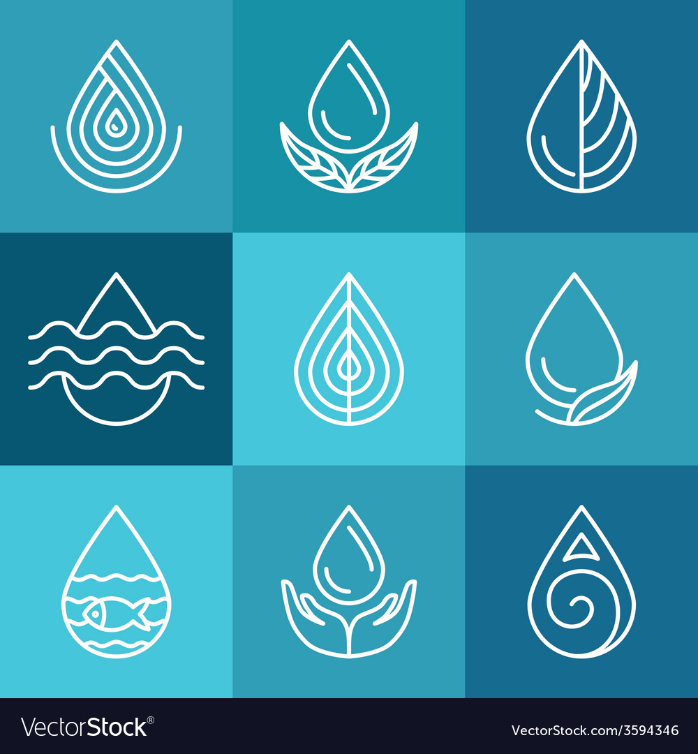Set of water symbols and signs vector | Price: 1 Credit (USD $1)