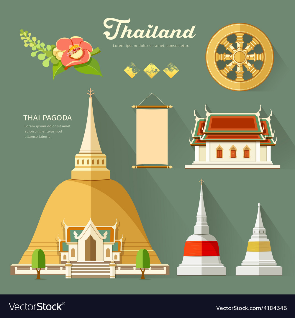 Thai pagoda with temple wheel of life of thailand vector | Price: 1 Credit (USD $1)