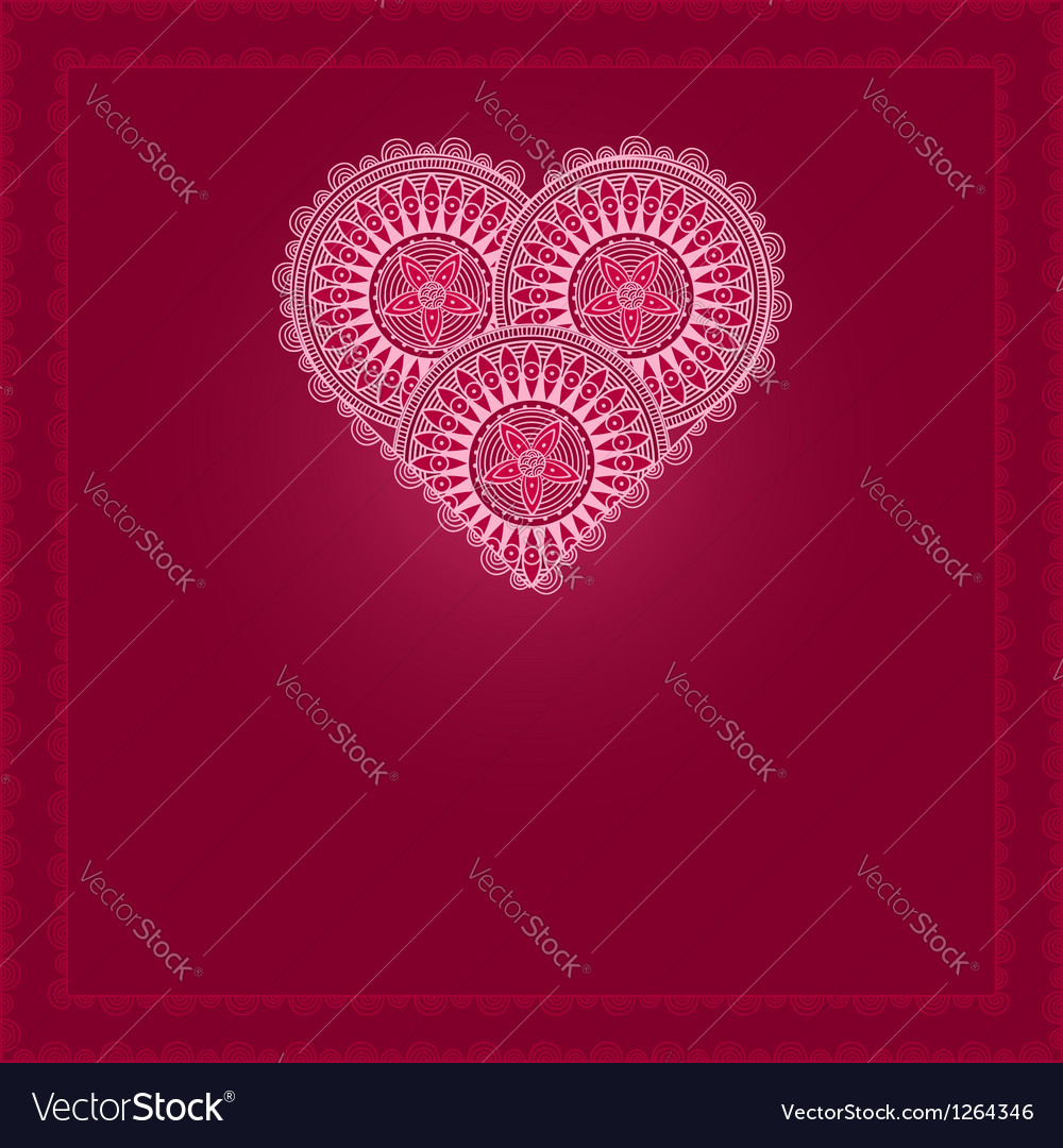 Valentines day card with patterned heart vector | Price: 1 Credit (USD $1)