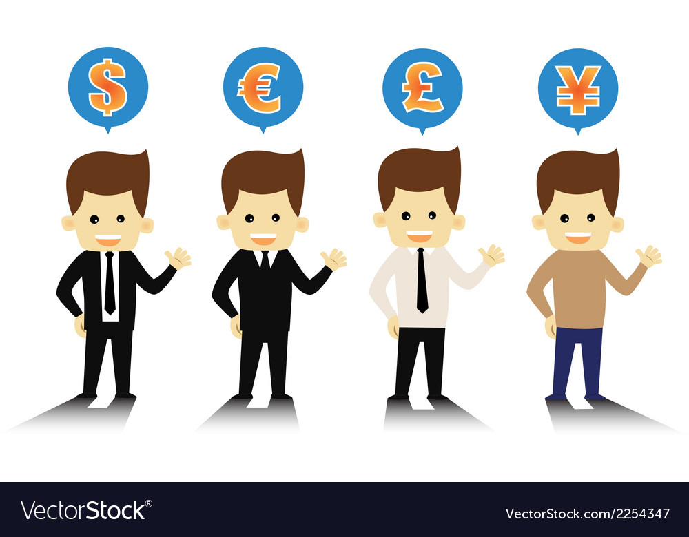 4 styles business man and currency symbols vector | Price: 1 Credit (USD $1)