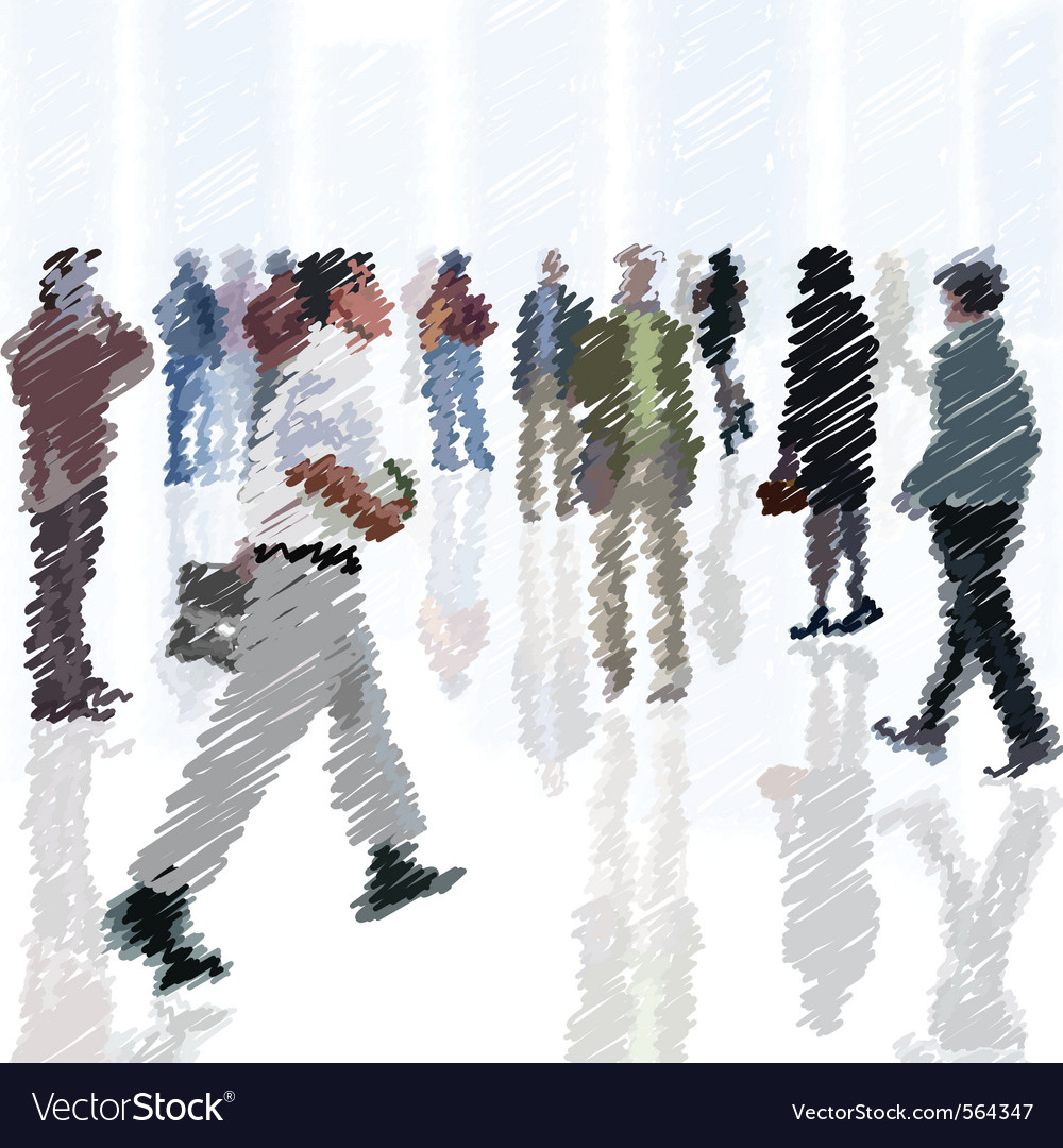 A crowd of scribble people going into the city vector | Price: 1 Credit (USD $1)