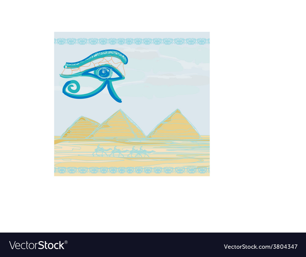 Egypt symbols and pyramids - traditional horus eye vector | Price: 1 Credit (USD $1)
