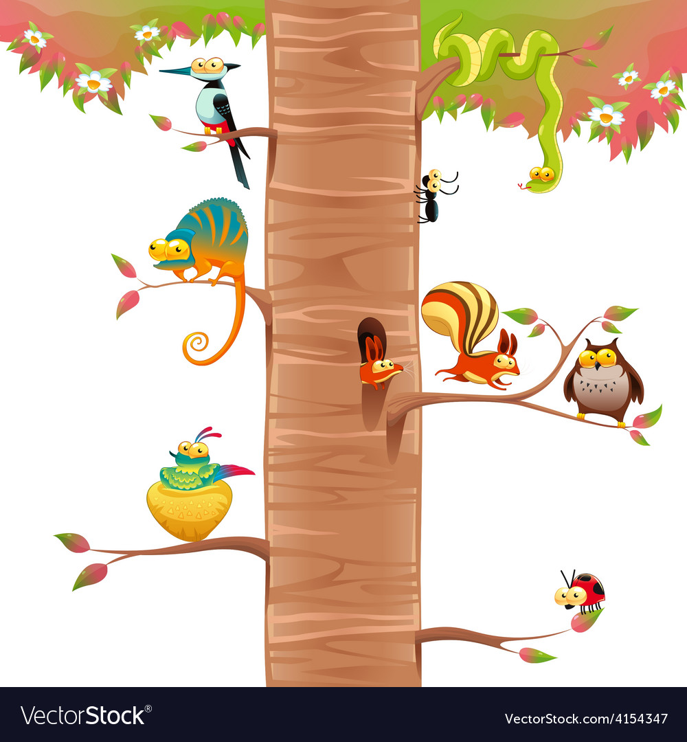 Funny animals on branches with white background vector | Price: 3 Credit (USD $3)