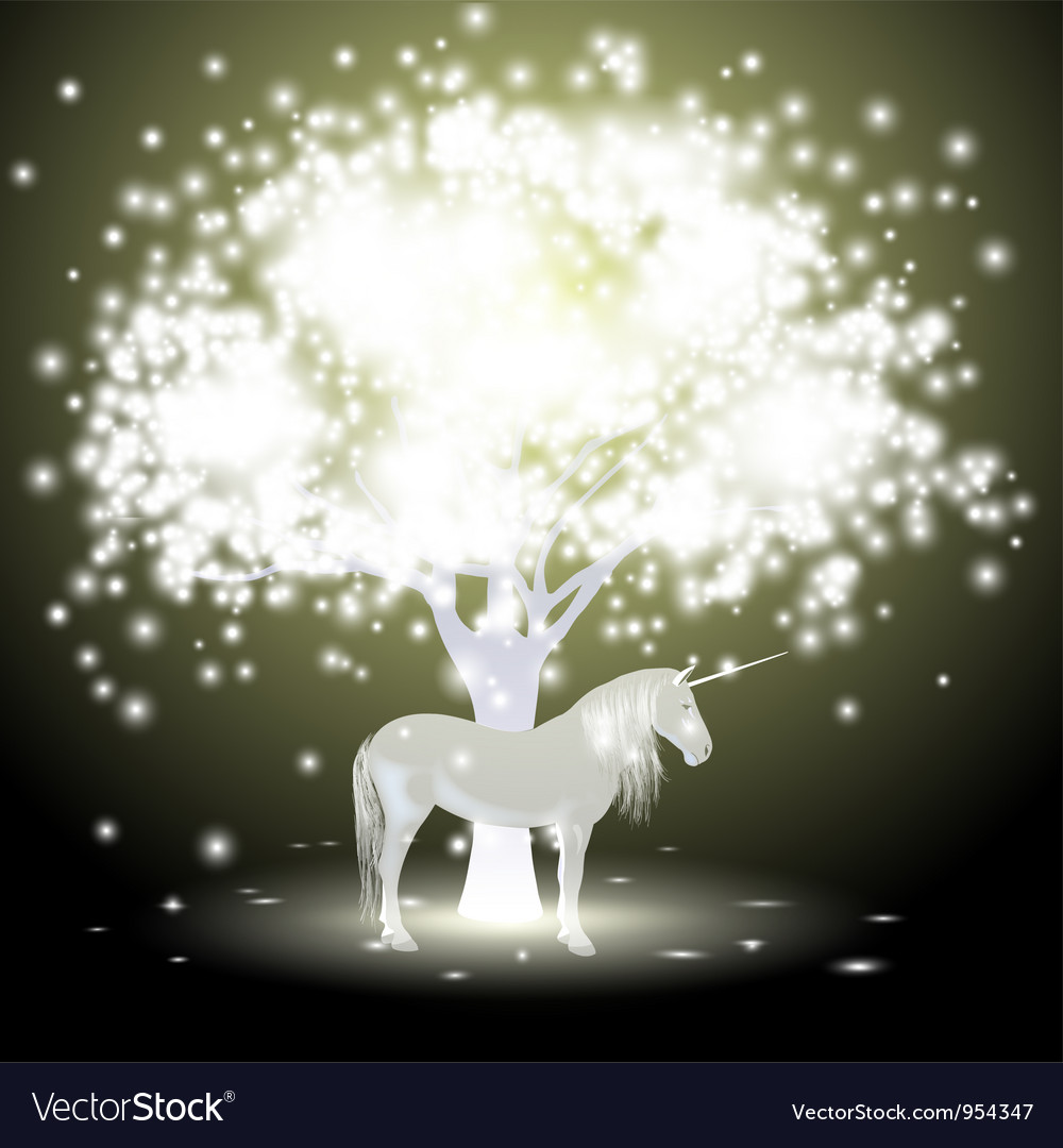 Magical tree and unicorn vector | Price: 1 Credit (USD $1)