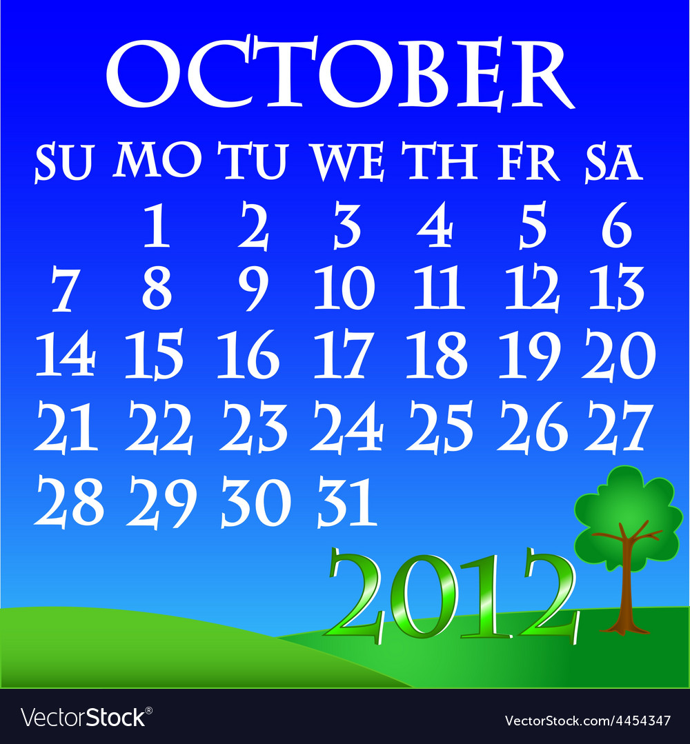 October 2012 landscape calendar vector | Price: 1 Credit (USD $1)