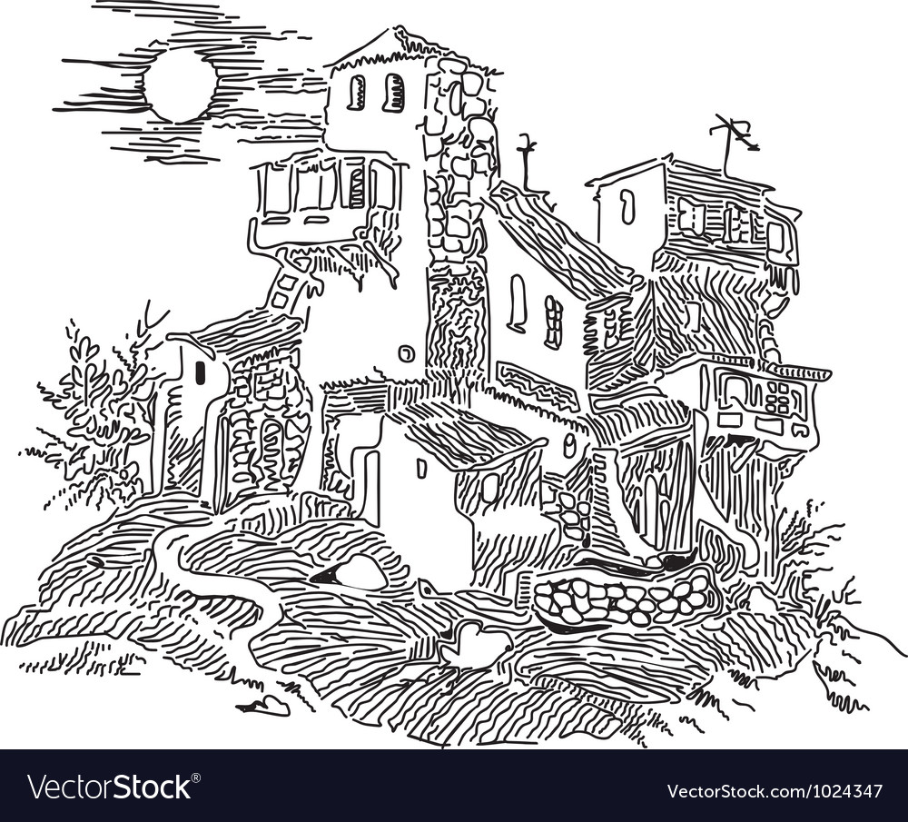 Old house on the hill vector | Price: 1 Credit (USD $1)