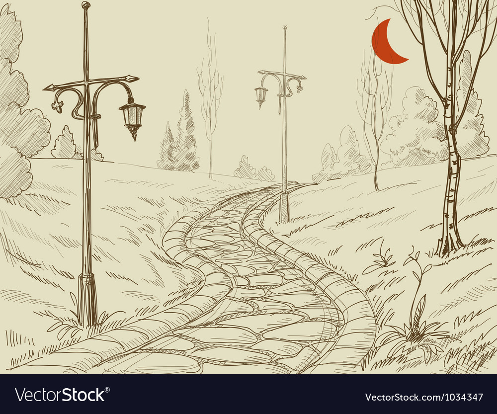Park alley sketch vector | Price: 1 Credit (USD $1)