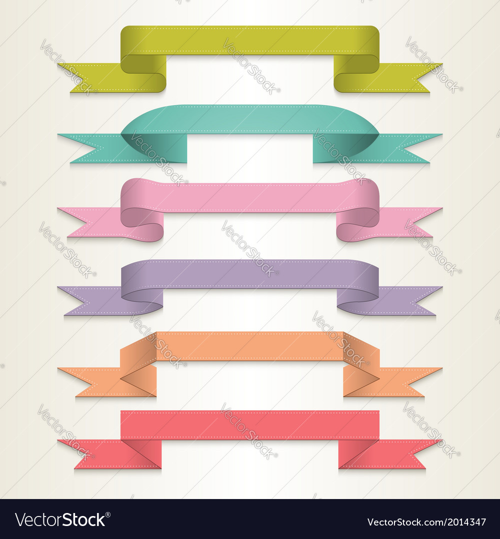 Retro ribbon set vector | Price: 1 Credit (USD $1)