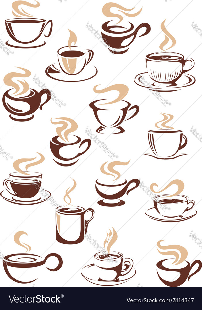 Set of steaming hot cups of coffee vector | Price: 1 Credit (USD $1)