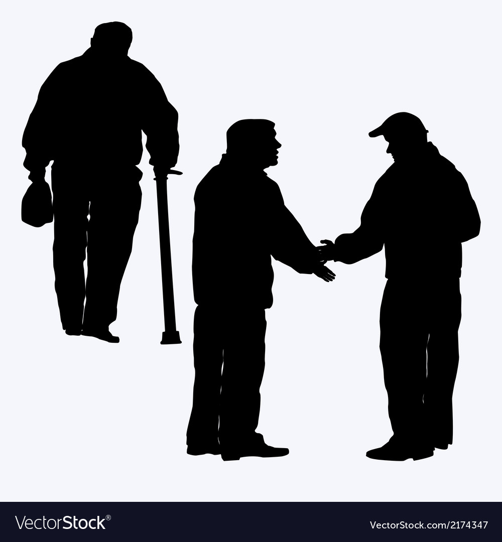 Silhouette of old people vector | Price: 1 Credit (USD $1)