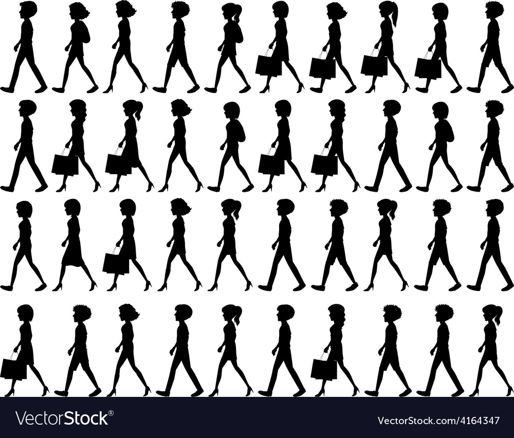 Silhouette of people walking vector | Price: 1 Credit (USD $1)