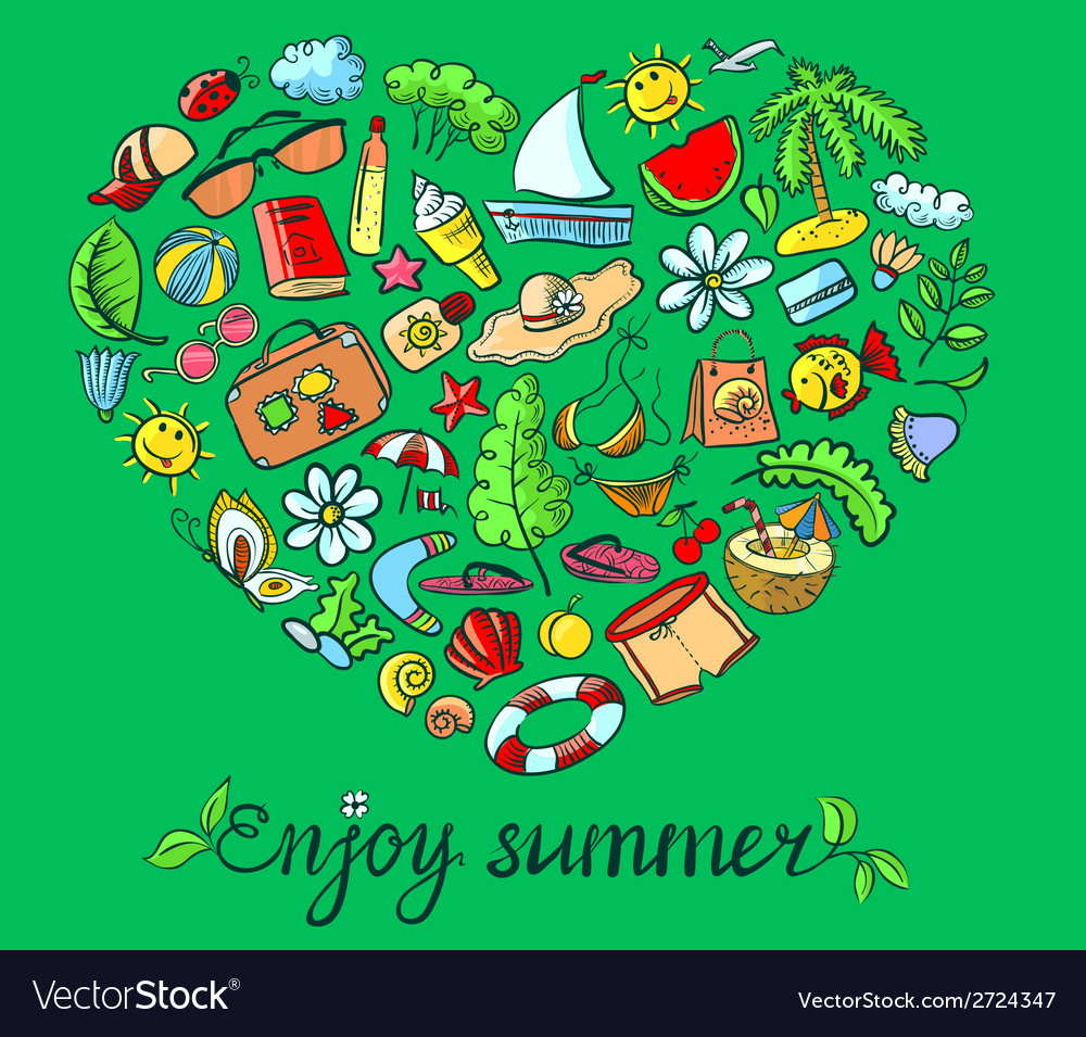 Summer heart vector | Price: 1 Credit (USD $1)