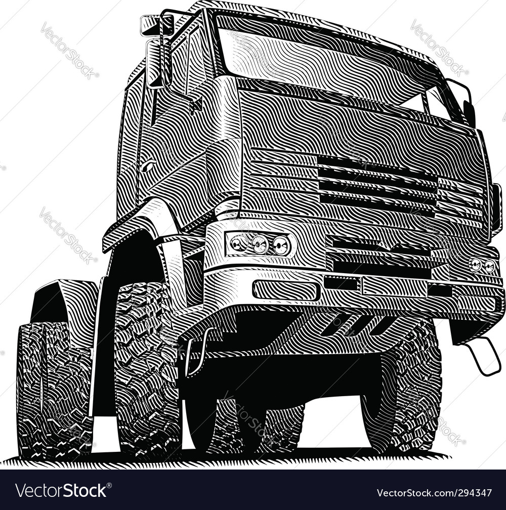Truck engraving vector | Price: 1 Credit (USD $1)