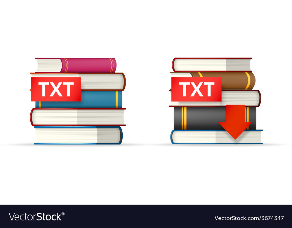 Txt books stacks icons vector | Price: 1 Credit (USD $1)