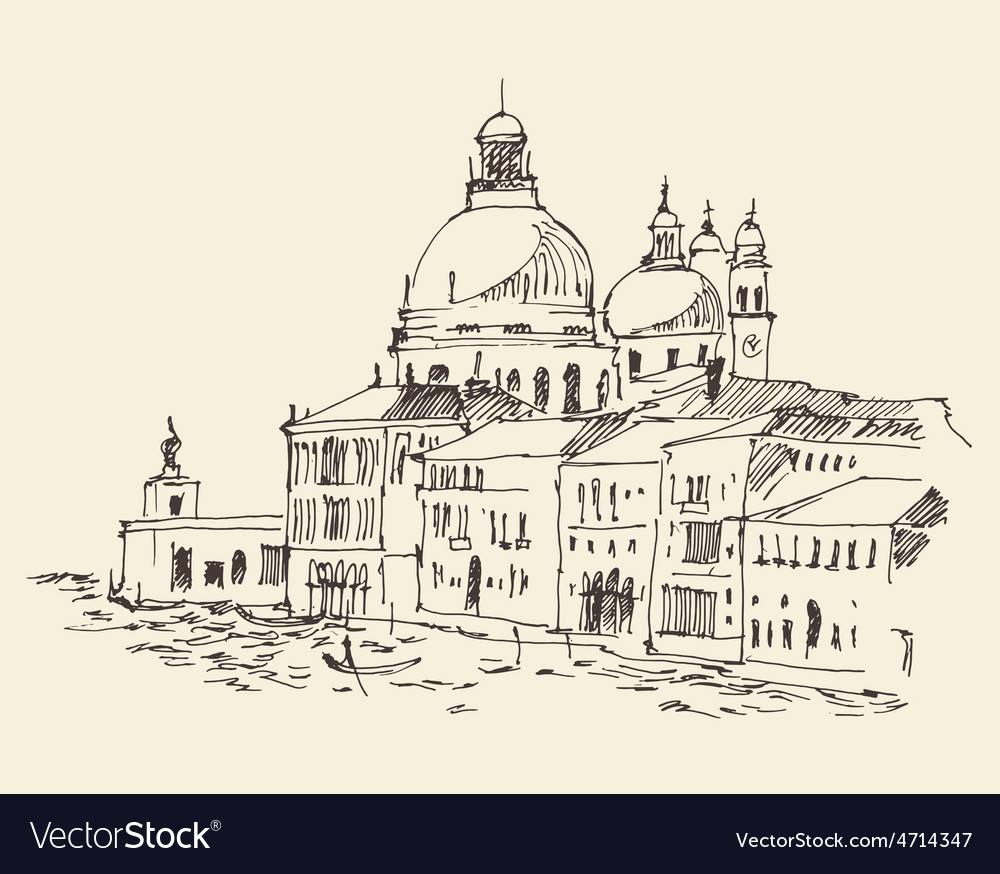 Venice city italy vintage engraved vector | Price: 1 Credit (USD $1)