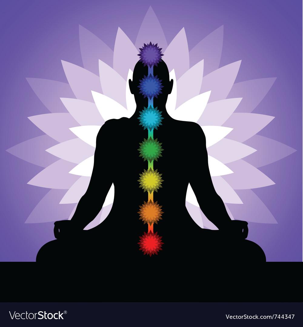 Yogi with chakras vector