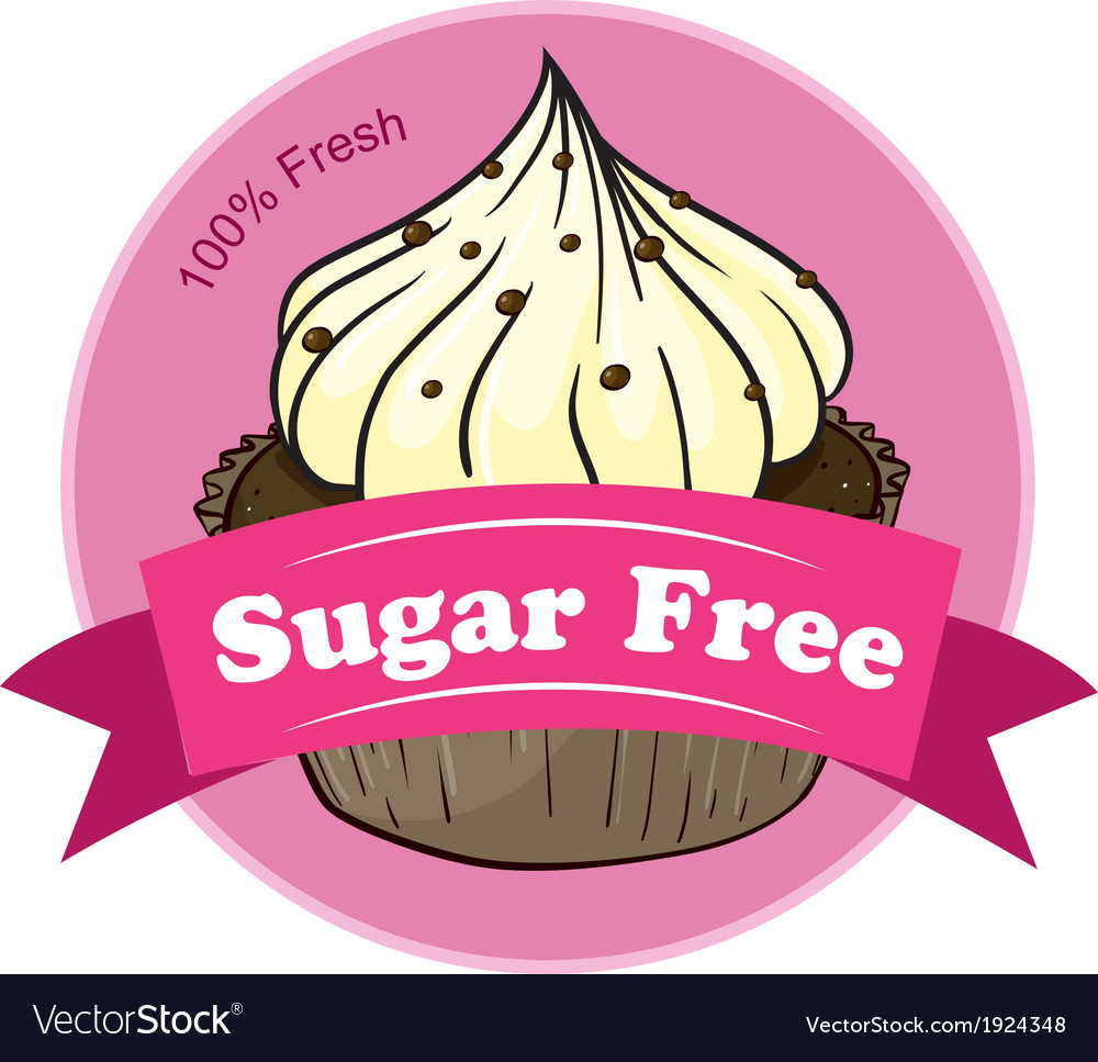 A sugar free label with a cupcake vector | Price: 3 Credit (USD $3)