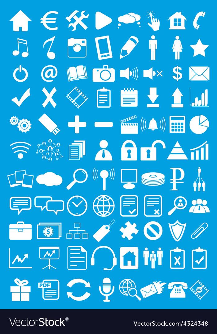 Blue webdesign flat icons set vector | Price: 1 Credit (USD $1)