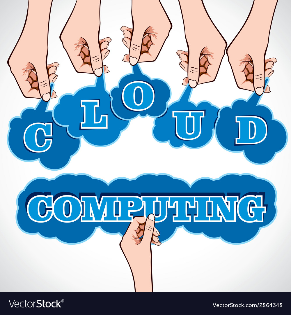 Cloud computing word in hand vector | Price: 1 Credit (USD $1)