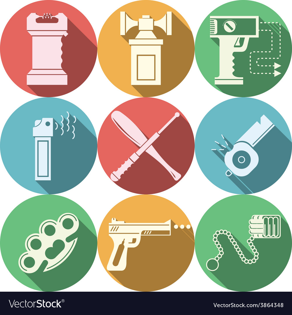 Color icons for self defence vector | Price: 1 Credit (USD $1)