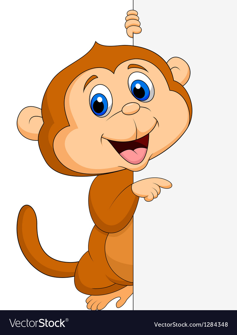 Cute monkey cartoon with blank sign vector | Price: 3 Credit (USD $3)